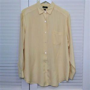 J. Crew 100% Silk Mens Shirt in Soft Yellow Size M